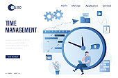 Time management landing page template, deadline concept. Man employee sitting on big watch. Workflow, multitasking