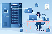 Beauty female system administrator online monitors the operation of servers. Woman employee