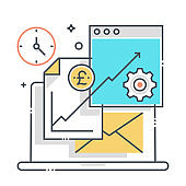 Finance and data related color line vector icon, illustration