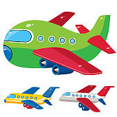 Color images of cartoon airplanes on a white background. Vector illustration set of vehicle, transport for kids.