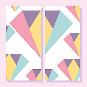 abstract shapes, 80s  geometric style placard, brochure
