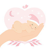 Big hand holding newborn baby. Medical and child care. Insurance concept background. Baby shower card template.