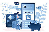 Cashback to a credit card concept. Smartphone with bank app,plastic card,cashback money and female consumer sitting on coins