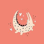 Cute crocodile and hearts flat vector illustration