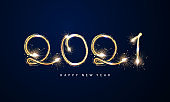 2021 Happy New Year Gold background design firework and christmas themed Celebration party banner and cards.
