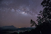 Beautiful Milky way, Amazing Milky Way galaxy at Borneo, The Milky way, Long exposure photograph, with grain.Image contain certain grain or noise and soft focus.