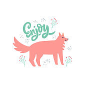 Dog with hand drawn enjoy lettering illustration. Cute animal with positive message. Greeting card, postcard decorative design element. Adorable doggy and branches scandinavian style drawing