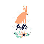 Rabbit with hand drawn hello lettering illustration. Bunny, friendly word and flower with leaves composition. Greeting card, postcard design element. Cute hare and floral blossom doodle drawing