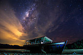 Amazing beautiful of night sky Milky Way Galaxy with abandon fisherman boat - Travel Concept