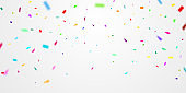 Celebration background frame template with confetti and Colorful ribbons. Vector illustration