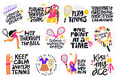 Tennis quotes, positive credos hand drawn letterings set. Male and female athletes with sport facilities flat illustrations with typography pack. Credo inscriptions isolated doodle drawings collection