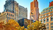 Park. New York downtown Skyline Financial building sky Residential Building