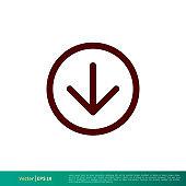 Download Arrow Down Icon Icon Vector Logo Template Illustration Design. Vector EPS 10.