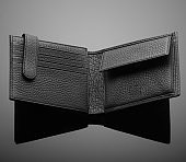 wallet on a black background