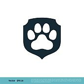 Paw Print Pet Protect Icon Vector Logo Template Illustration Design. Vector EPS 10.