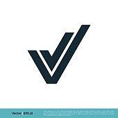 Letter V Check Mark Icon Vector Logo Template Illustration Design. Vector EPS 10.