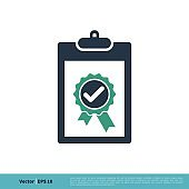 Check mark Award Rosette Stamp Clipboard Icon Vector Logo Template Illustration Design. Vector EPS 10.