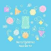 Beautiful greeting card with a set of Christmas icons on a blue background. Square banner With a merry Christmas and a happy new year
