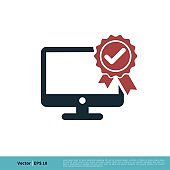 Monitor, Screen, Television Rosette Ribbon Check Mark Icon Vector Logo Template Illustration Design. Vector EPS 10.