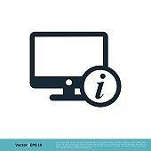 Monitor, Screen, Television Information Icon Vector Logo Template Illustration Design. Vector EPS 10.