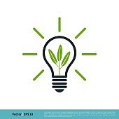 Light Bulb Green Leaf Icon Vector Logo Template Illustration Design. Vector EPS 10.