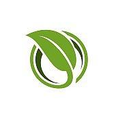 Green Leaf in Circle Logo Template Illustration Design. Vector EPS 10.
