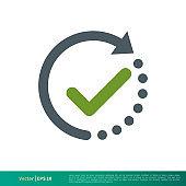 Clock and Check Mark Icon Vector Logo Template