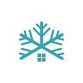 Snowflake House, HVAC Installation Logo Template Illustration Design. Vector EPS 10.
