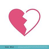 Pink Broken Heart Love Icon Vector Logo Template Illustration Design. Vector EPS 10.