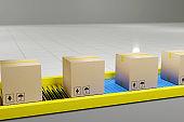 Cardboard boxes progresses along on conveyor belt. 3d illustration.