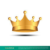 Golden Crown Vector Logo Template Illustration Design. Vector EPS 10.