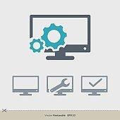 Computer Repair Vector Template. Television Icon Logo Illustration Design. Vector EPS 10.