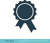 Award Ribbon Rosette Badge Icon Vector Logo Template Illustration Design. Vector EPS 10.