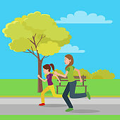 Running Mom and Doughter Color Vector Illustration