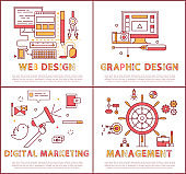 Web and Graphic Design Set Vector Illustration