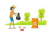 Person Caring Nature Cleaning Vector Illustration