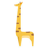Graphic Giraffe in Colors Isolated on White