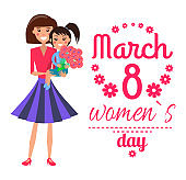 March 8 Womens Day Poster Vector Illustration