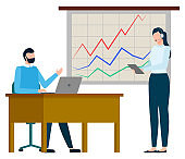 Graph Presentation, International Business Vector