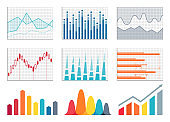 Graphs Colorful Representation Vector Illustration