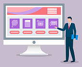 Businessman Stand near Computer Monitor, Website