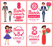 8 March Womens Day Love Spring Vector Illustration
