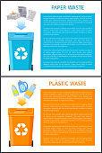 Paper and Plastic Waste Set Vector Illustration