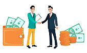 Business Partners Handshake and Wallets with Money