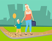 Mother and Kid with Balloon Walking in Park Vector