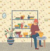 Pottery Hobby, Man Hipster at Home, Pots Making