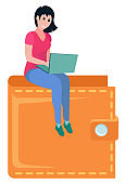 Girl Sitting on Top of Wallet, Girl Laptop Vector