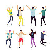 Dancer Boy Set, Male Moving, Bachelor Party Vector