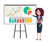 Businesswoman Shows Presentation with Graphics