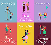 Six Posters on Womens Day with Gifts and Flowers